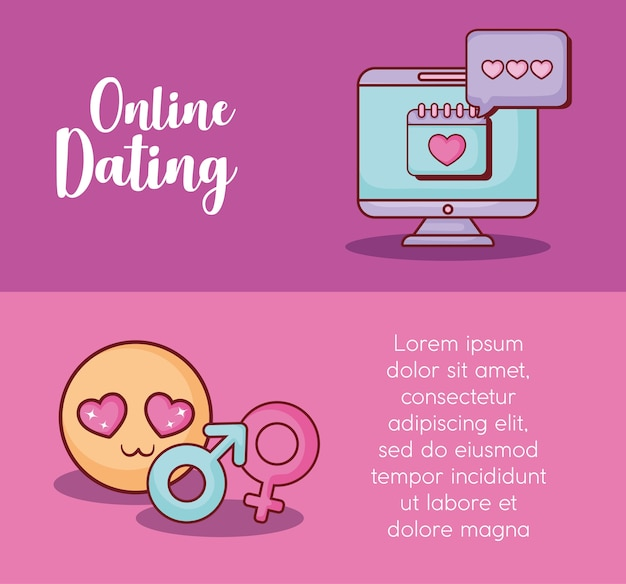 Infográfico de namoro on-line Vetor Premium
