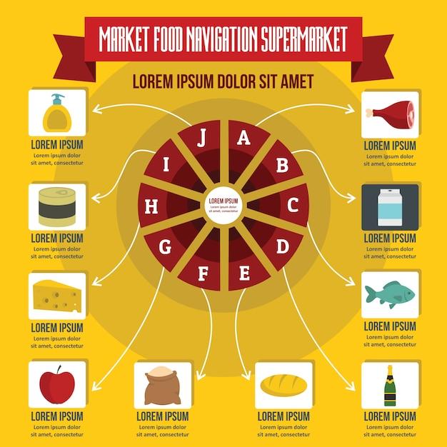 Infográfico de navegação de alimentos de mercado, estilo simples Vetor Premium