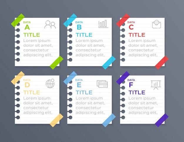 Infográfico de negócios 6 passo em papel Vetor Premium