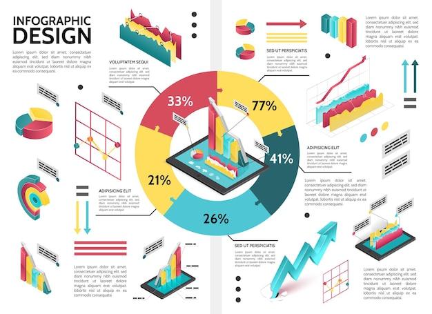 Infográfico de negócios colorido isométrico com gráfico de pizza de diagrama de ciclo e ilustração de dados de setas. Vetor grátis