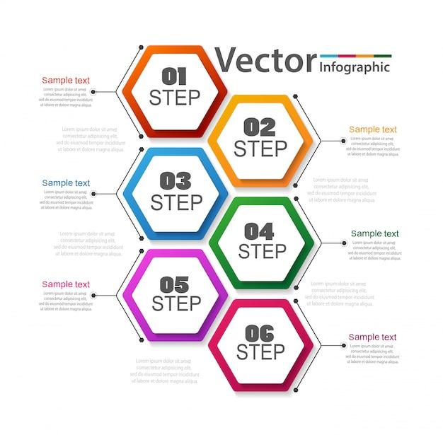 Infográfico de negócios com 6 etapas Vetor Premium