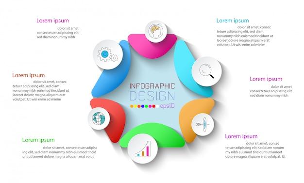 Infográfico de negócios com 6 etapas. Vetor Premium