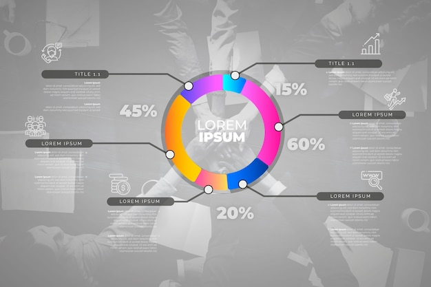Infográfico de negócios com foto Vetor grátis