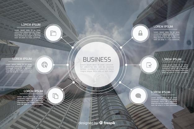 Infográfico de negócios com imagem Vetor grátis
