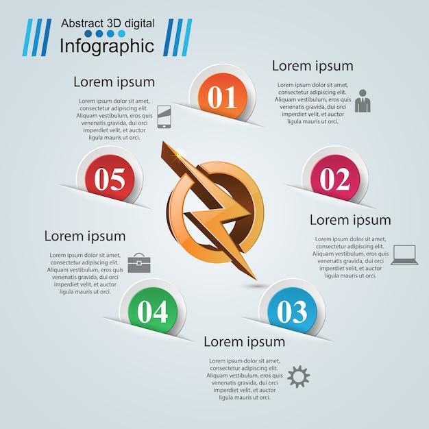 Infográfico de negócios de origami de papel relâmpago. Vetor Premium