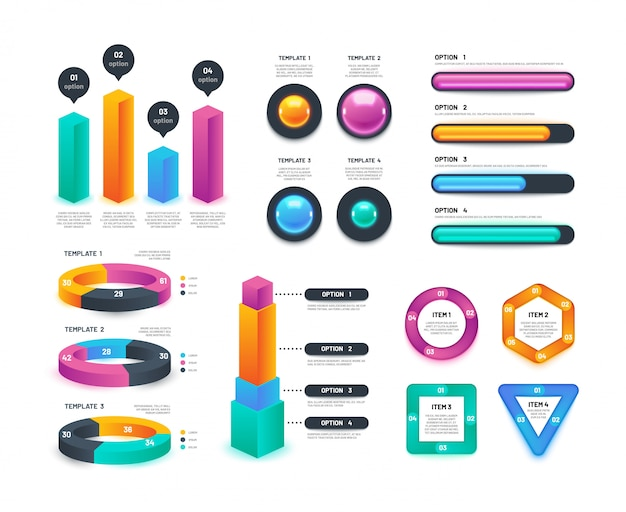 Infográfico de negócios. gráficos de fluxo de trabalho, diagramas circulares, relatórios anuais de marketing. coleção 3d vector Vetor Premium
