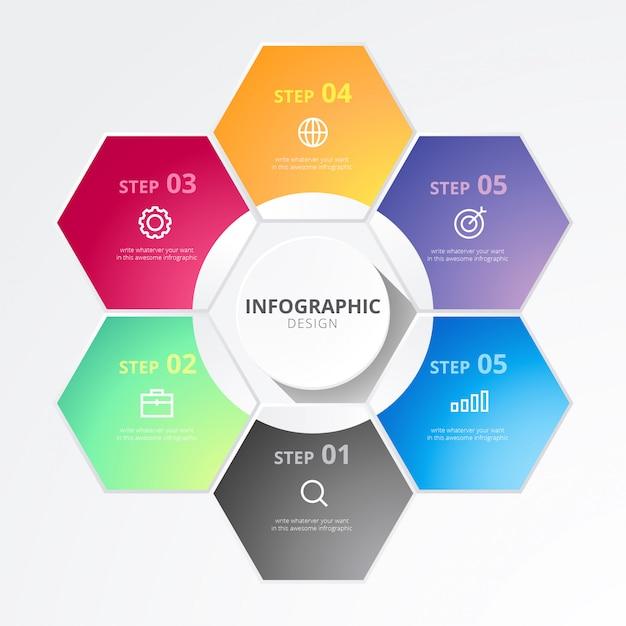 Infográfico de negócios hexagonal Vetor grátis