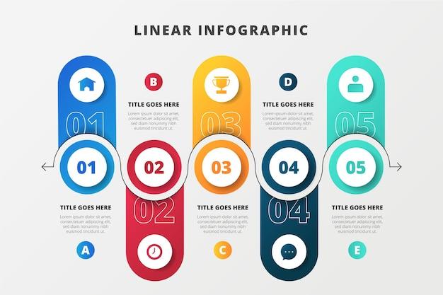Infográfico de negócios lineares criativos Vetor Premium