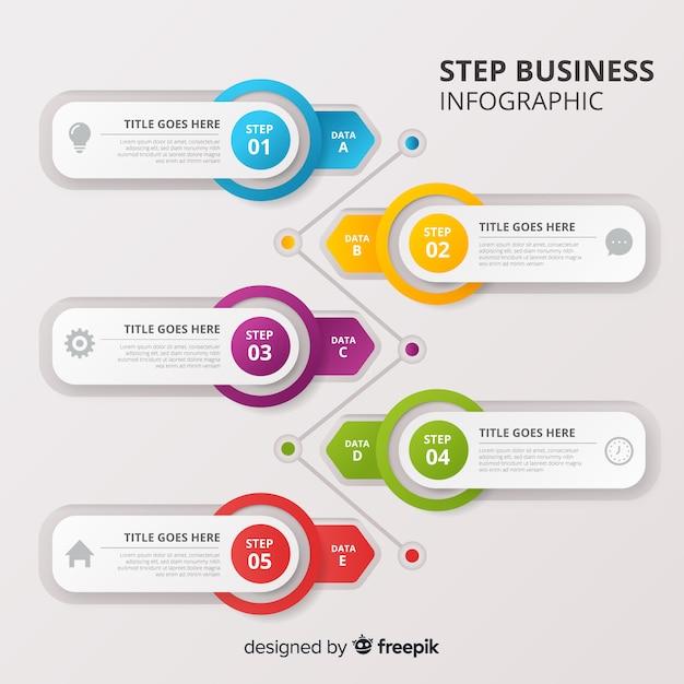 Infográfico de negócios passo Vetor grátis
