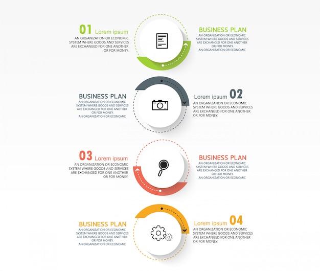 Infográfico de negócios pode ser usado para o processo de apresentações, layouts, banners, gráficos de dados em estudos de negócios. Vetor Premium