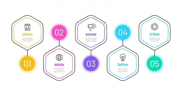 Infográfico de opção de linha. infografia de 5 números, gráfico de etapas do processo de negócios com ícones de estrutura de tópicos. modelo de diagrama de finanças do projeto Vetor Premium