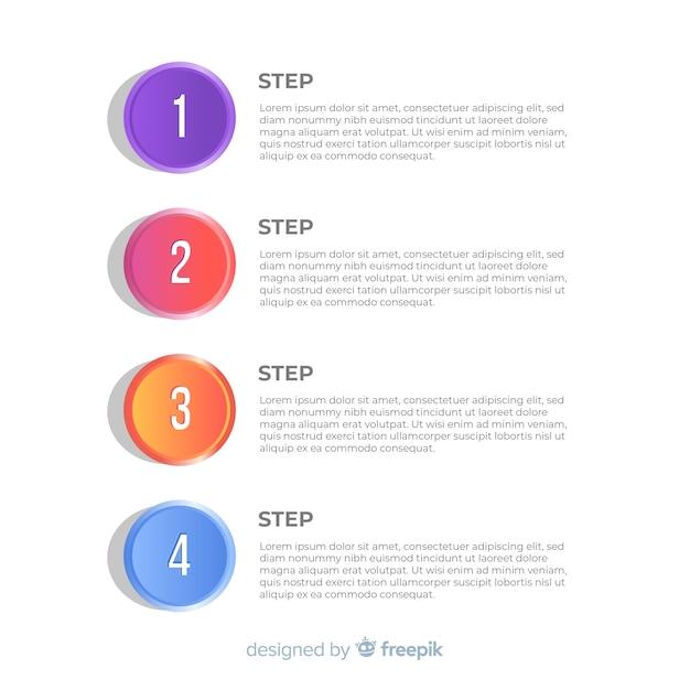 Infográfico de passo numerado plana colorido Vetor grátis