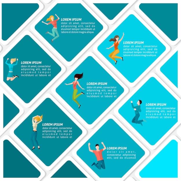 Infográfico de pessoas pulando Vetor grátis