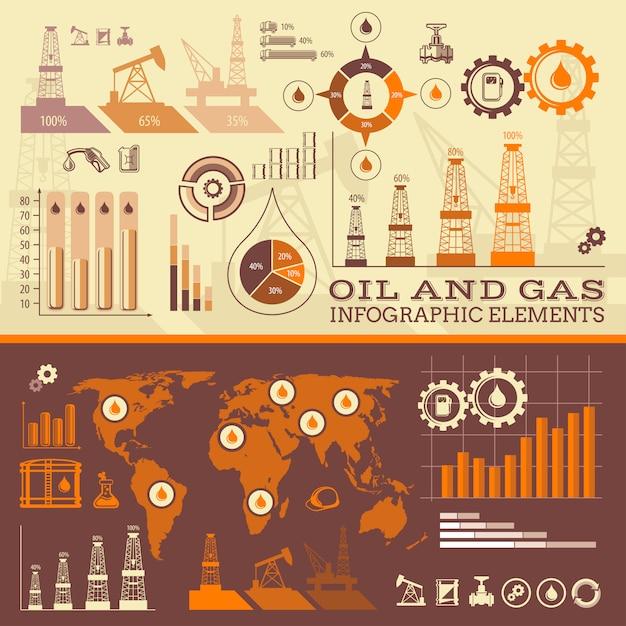 Infográfico de petróleo e gás Vetor Premium