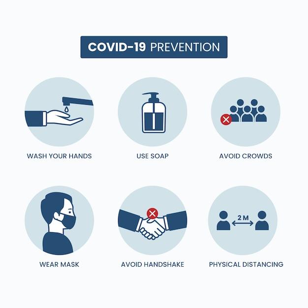 Infográfico de prevenção de coronavírus definido modelo Vetor Premium