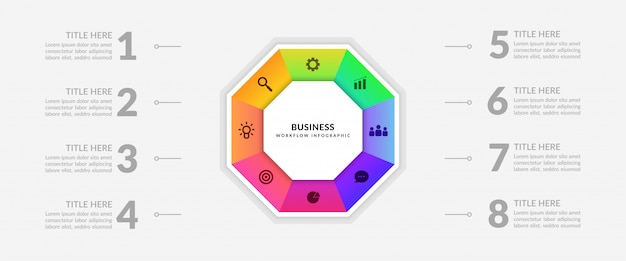 Infográfico de processo de negócios ciclo com várias opções Vetor Premium