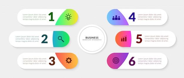 Infográfico de processo de negócios com o segmento de várias etapas, elementos gráficos de fluxo de trabalho colorido Vetor Premium