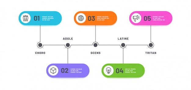 Infográfico de processo. linha do tempo com 5 etapas. negócios cinco opções infochart. modelo de diagrama de processamento de fluxo de trabalho Vetor Premium