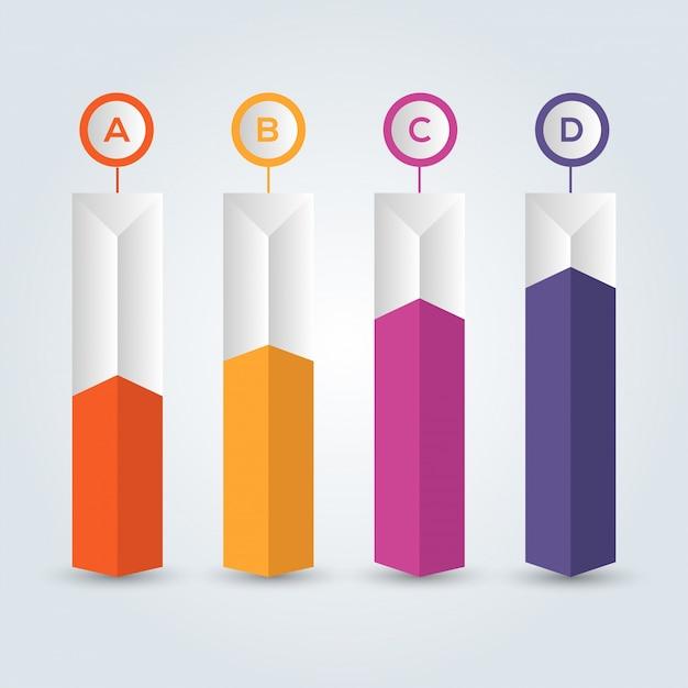 Infográfico de quatro passos, ícones coloridos. Vetor Premium