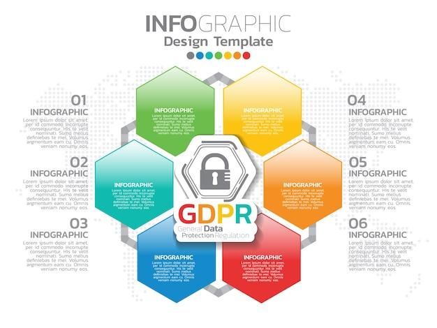 Infográfico de regulamento geral de proteção de dados Vetor Premium