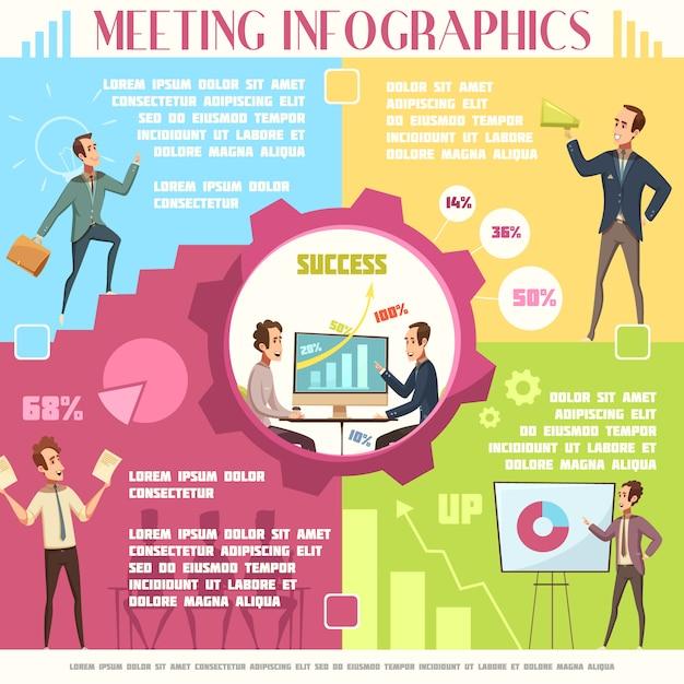 Infográfico de reunião de negócios conjunto com trabalho e sucesso símbolos ilustração em vetor de desenhos animados Vetor grátis