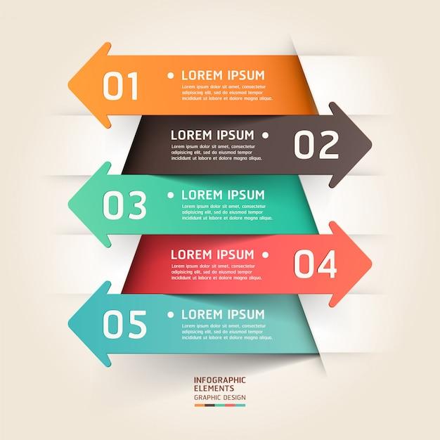 Infográfico de seta de corte de papel moderno. Vetor Premium
