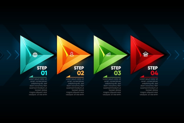 Infográfico de setas coloridas realistas Vetor grátis