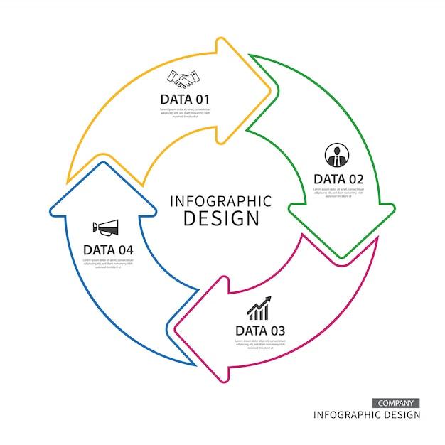 Infográfico de setas de círculo de linha fina de negócios com 4 dados Vetor Premium