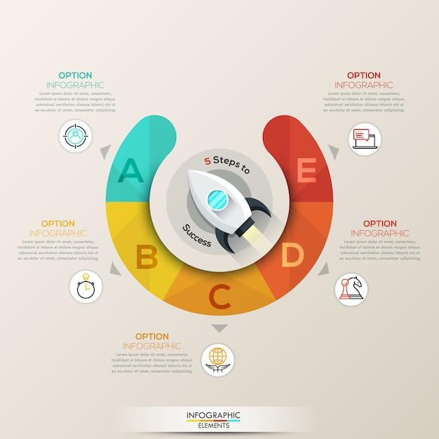 Infográfico de setas do círculo Vetor Premium