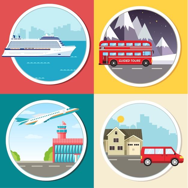 Infográfico de transporte de variações de viagens, férias, turismo Vetor Premium