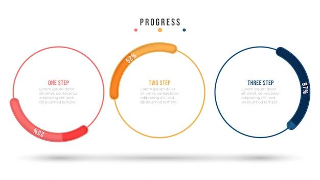 Infográfico de vetor. elementos de design plano de linha fina com barra de progresso do círculo. conceito de negócio com 3 opções ou etapas. Vetor Premium