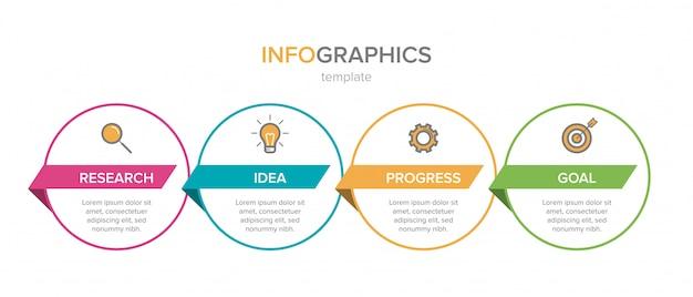 Infográfico design com ícones e quatro opções ou etapas. vetor de linha fina. conceito de negócio infográficos. pode ser usado para gráficos de informação, fluxogramas, apresentações, sites, banners, materiais impressos. Vetor Premium