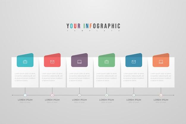 Infográfico design com ícones e seis opções ou etapas. conceito de negócio infográficos. pode ser usado para gráficos de informação, fluxogramas, apresentações, sites, banners, materiais impressos. Vetor Premium