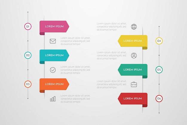 Infográfico design com ícones e seis opções ou etapas. pode ser usado para banner de apresentações, layout de fluxo de trabalho, diagrama de processos, fluxograma Vetor Premium