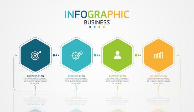Infográfico design ilustração para processos modernos na forma de apresentações, banners, gráficos, negócios e aplicações educacionais Vetor Premium