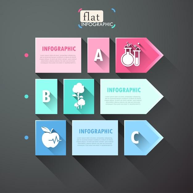 Infográfico design plano com quadrados, setas e ícones Vetor Premium