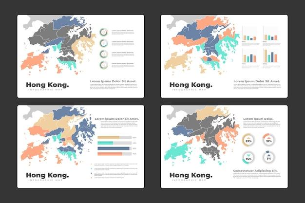 Infográfico do mapa de hong kong Vetor Premium