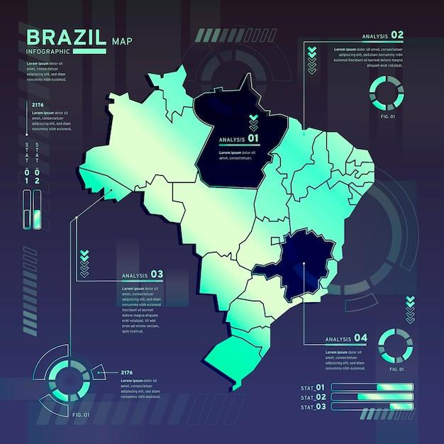 Infográfico do mapa de néon do brasil em design plano Vetor grátis