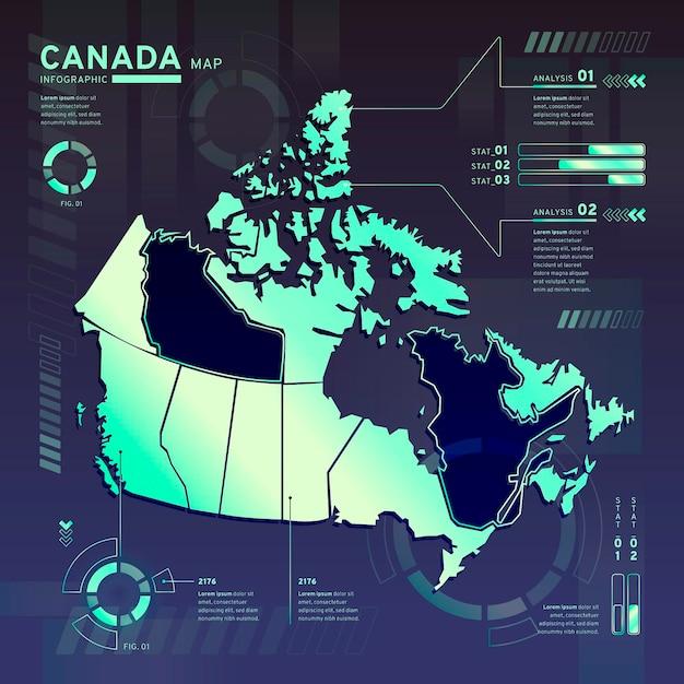 Infográfico do mapa de néon do canadá em design plano Vetor grátis
