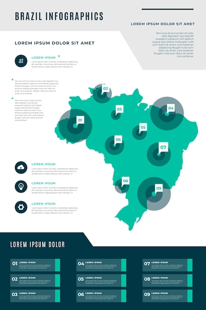 Infográfico do mapa do brasil em design plano Vetor grátis
