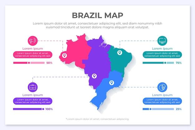 Infográfico do mapa do brasil em design plano Vetor Premium