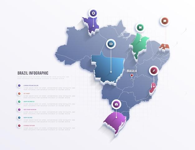 Infográfico do mapa do brasil Vetor grátis