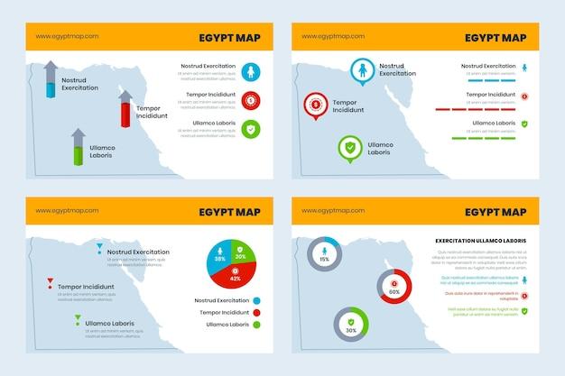 Infográfico do mapa do egito em flat desgin Vetor Premium