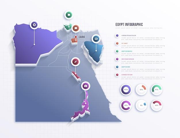 Infográfico do mapa do egito Vetor grátis