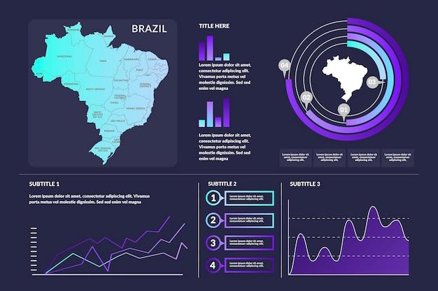 Infográfico do mapa gradiente brasil Vetor Premium