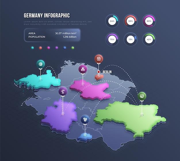 Infográfico do mapa isométrico da alemanha Vetor grátis