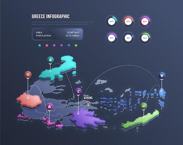 Infográfico do mapa isométrico da grécia Vetor grátis