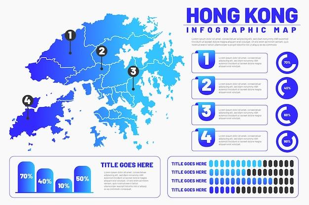 Infográfico do mapa linear de hong kong Vetor Premium