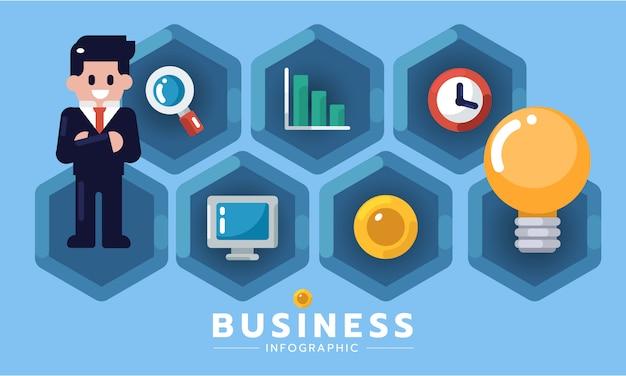 Infográfico elemento design plano negócios ideia novo projeto ou iniciar o conceito. idéia da empresa de homem de negócios. ilustração em vetor infográfico negócios Vetor Premium
