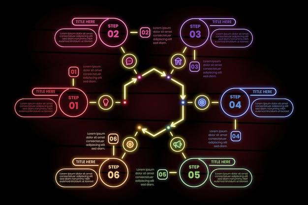 Infográfico etapas no estilo neon Vetor grátis